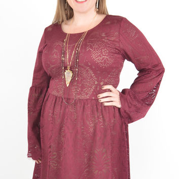 Women's Maroon Lace Dress with Bell Sleeves and Scalloped Hem