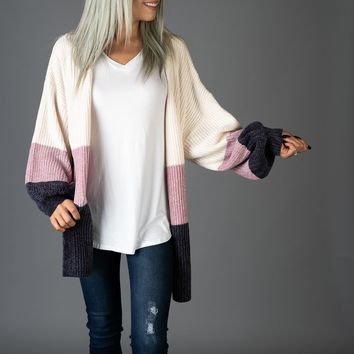 Ivory, Lilac and Navy Chenille Cardigan