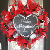 XL Valentine's Wreath, Valentine's Day Decoration, Front door wreaths, Heart Wreath, Wreath for Valentine's Day, Ready to Ship