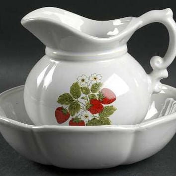 Vintage McCoy Strawberry Country Small Pitcher and Bowl