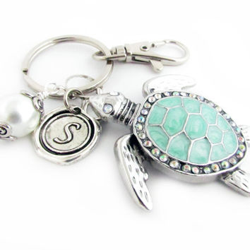 Sea Turtle Keychain, Turtle Keyring, Beach Keychain, Car Accessory, Cute Turtle Keychain, Initial Keyring, Personalized Gift