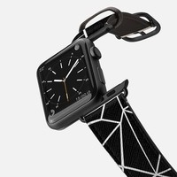 Casetify Apple Watch Band (42mm) Saffiano Leather Watch Band - Abstract Outline White on Black Watch by Project M