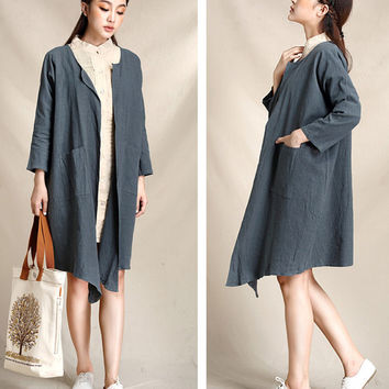 Women trench coat, autumn trench coats, women autumn coat, loose coat, linen coat (ESR136)