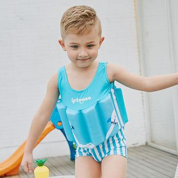 SABOLAY New Boys Training Swimsuit Children Buoyancy Swimwear One-Piece Swimming Suit Toddler Baby Life Saving Conjoined Vest