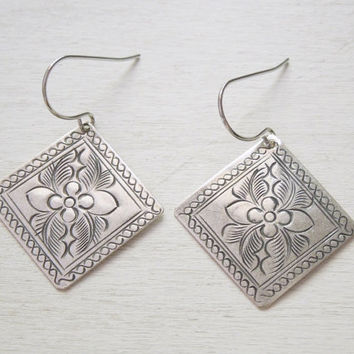Leafy Square Earrings - Antiqued Silver Tin Square/Diamond Pendant Earrings Silver French Hook Ear Wires