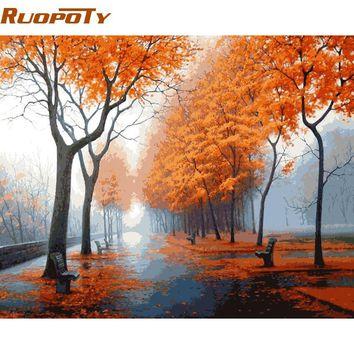 RUOPOTY Frame DIY Painiting By Numbers Landscape Modern Wall Art Canvas Painting Hand Painted Acrylic Picture For Home Decor