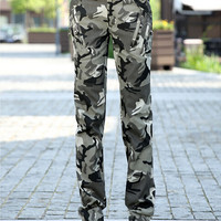 Camouflage Pants For Women 2016 New Fashion Womens Cotton Casual Camo Pants Multi-pockets Free Shipping