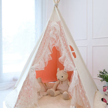 Pink lace teepee tent play tent & Best Pink Teepee Products on Wanelo