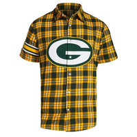 Green Bay Packers Official NFL Colorblock Short Sleeve Flannel
