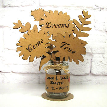 DREAMS COME TRUE - Anniversary Gift Idea Corrugated Cardboard Flowers Bouquet In Mini Mason Jar Great Gift Idea