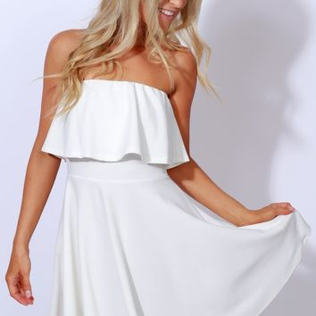 Sweet Moments Ruffle Dress Ivory