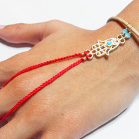 Red hamsa braided friendship bracelet ring handpiece - gold plated turquoise charm evil eye