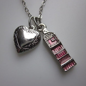 I Heart London Big Ben Necklace with Heart Locket