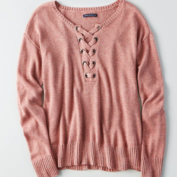 AEO Lace-Up Front Sweater, Blush