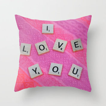 Darling I Love You In Pink Throw Pillow by Stacy Frett