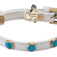 Genuine Turquoise Pebble Faceted Dog Collar - Small Dog