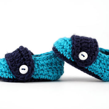 Crochet Baby Button Loafers // Teal and Navy Bluel // Newborn Crochet Shoes // Baby Boy Loafers