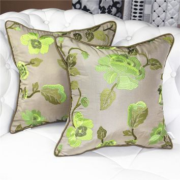 Luxury garden green household decorative embroidery pillow cases