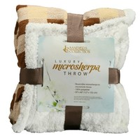MicroMink Luxurious Soft Blanket Throw, Cream Checkerboard