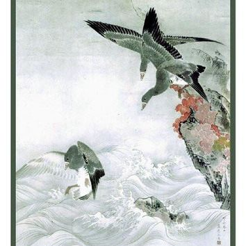 Wild Geese by Japanese artist Maruyama Okyo Counted Cross Stitch or Counted Needlepoint Pattern