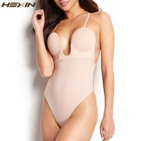HEXIN Women U Plunge Body Suit Backless Full-Body Thong Shaper Steel Bone Body Shaper Underwear Bodysuit Women Shapewear