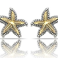 JanKuo Jewelry Two Tone Gold and Silver Antique Vintage Style Starfish Clip On Earrings
