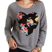 Floral Heart Quilted Sweatshirt by Charlotte Russe - Gray Combo