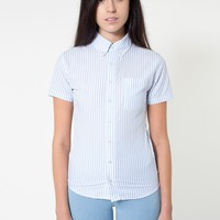 rsacp401spw - Unisex Stripe Short Sleeve Button-Down with Pocket