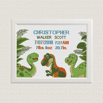 dinosaurs Cross stitch Birth announcement dino animal cross stitch pattern t rex new baby boy birth record sampler gift nursery decor