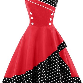 Atomic Black and Red Rockabilly Swing Dress