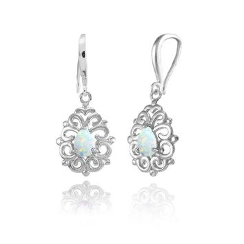 Dainty Teardrop Simulated White Opal Filigree Dangle Earrings in Sterling Silver