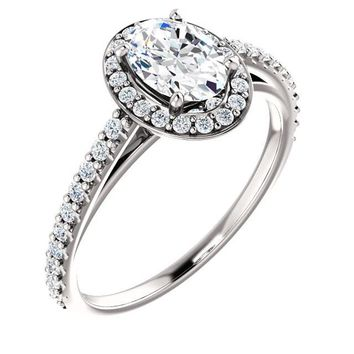 0.75 Ct Oval Diamond Engagement Ring 14k White Gold