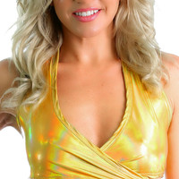 Gold Holographic Rave Halter Wrap Top