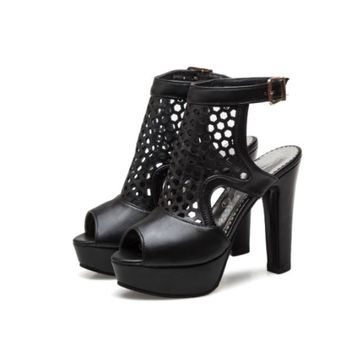 Womens Platform Shoes Heels Ankle Strap Chunky High Gladiator Sandals Open Toe