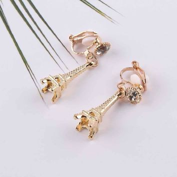 High Quality Eiffel Tower shape Clip on Earrings Without Piercing for Girls Party Needn't Ear Hole for Girls Party Jewelry