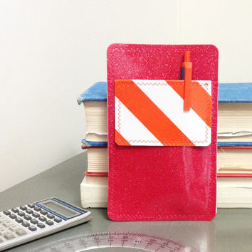 Nerd Power Vinyl Pocket Protector in fuchsia pink sparkle vinyl /  orange wide stripe oilcloth