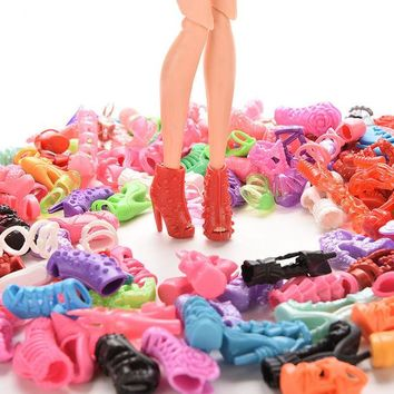 DCCKL72 15Pairs Colorful Assorted Shoes For Barbie Doll With Different Styles Fashion Toy Girls Christmas Gift