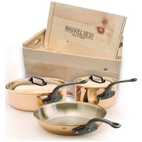 Mauviel 5 Pc Copper Cookware Set with Cast Iron Handles - in Wood Crate