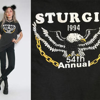Vintage 1994 Sturgis Shirt - Biker T-Shirt - Moto Motorcycle Tee - Eagle Shirt - Black Eagle and Chain - Vintage Clothing - 90s Shirt Large