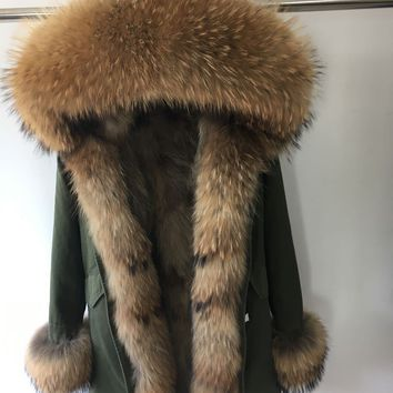 MaoMaoKong fur coat parkas winter jacket coat women parka big real raccoon fur collar natural Raccoon fur liner long outerwear
