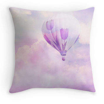 Pink Throw Pillow, Nursery Scatter Cushion, 16x16 Cushion Cover, Pink Room Decor, Pink Lilac Balloon