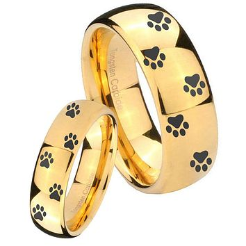 His Her Glossy Dome Paw Print Design 14K Gold IP Tungsten Wedding Rings Set