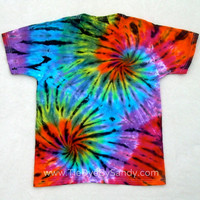 Child Large Tie Dye Shirt Double Spiral Rainbow Stained Glass