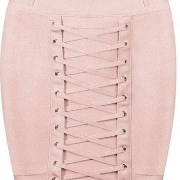 Lace Bandage Mini Skirt - Nude