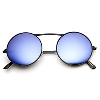 Large Retro Round Steampunk Mirrored Lens Sunglasses 8759