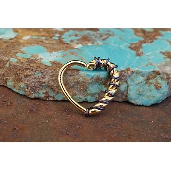 Twisted Gold Heart Hoop Daith Rook Helix Cartilage Tragus