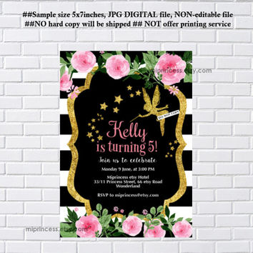 Fairy invites, Birthday Invitation, gold fairy girl birthday party for any age 1st 2nd 3rd 4th 5th 6th 7th 8th 9th 10th- card 1120