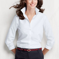 Women's 3/4-sleeve Solid Supima No Iron Shirt from Lands' End