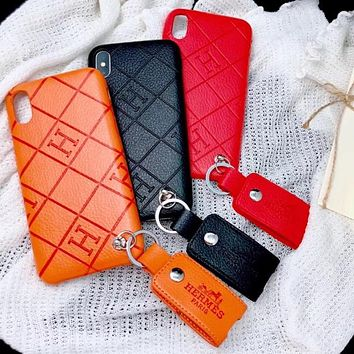 Hermes New fashion letter leather case couple  mobile phone case cover