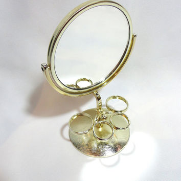 Vintage Round Mirror With Stand Double Sided Mirror Two Sided Mirror Lipstick Holder Vanity Mirror Small Mirror Vintage Mirror Gold Mirror